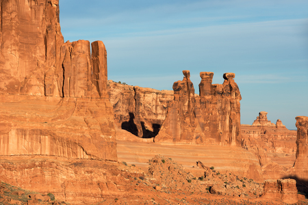 The Three Gossips within monolithic sandstone within Arches National Park, Utah