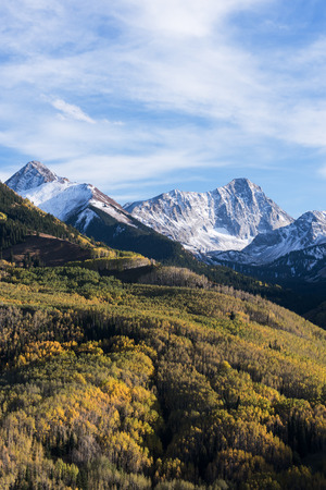 Clark Peak 13,568 feet and Capital Peak 14,130 feet in the White River National Forest in western Colorado. Stock Photo