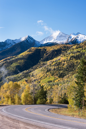 View from McClure Pass Colorado along the West Elk Loop Scenic Byway on Colorado 133.  Chair Mountain is 12,721 feet within the Ragged Wilderness of Gunnison National Forest. Looking into the Crystal River Valley in the Autumn.