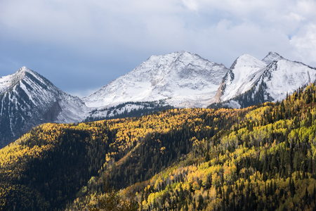 View from McClure Pass Colorado along the West Elk Loop Scenic Byway on Colorado 133.  Chair Mountain is 12,721 feet within the Ragged Wilderness of Gunnison National Forest.