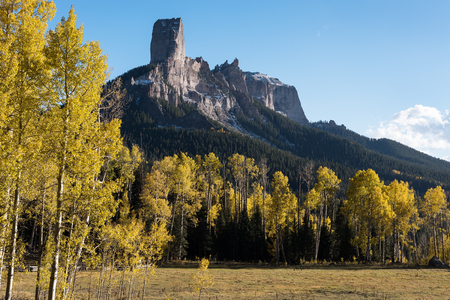 View of Chimney Rock and Court House Mountain from Owl Creek Pass road, located in Uncompahgre National Forest in Southwestern Colorado.