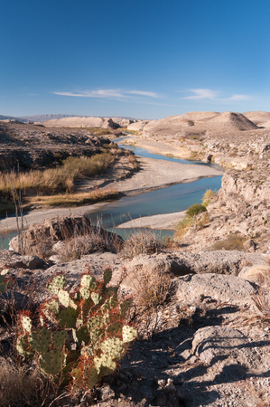 Big Bend National Park along the Mexico and United States border with the Rio Grande River as the boundary.