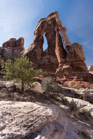 Druid Arch located within the Needles District of Canyonlands National Park Utah.