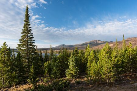 Routt National Forest Recreation Area with Big Creek Lakes and campground on the edge of Mount Zirkel Wilderness. Standard-Bild