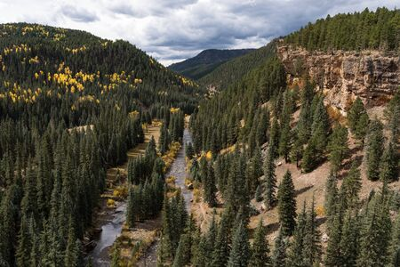 The Historical North Piedra Stock Driveway Trail is next to the Piedra River.  Early autumn colors and dramatic vistas await the visitors to Colorado