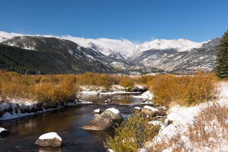 High alpine peaks within Rocky Mountain National Park after the first Fall snow storm in Colorado.