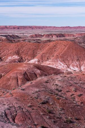 Late evening light on the Painted Desert  and the vast Badlands within Petrified Forest National Park, Arizona. Standard-Bild