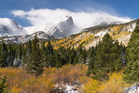 12,486 foot Otis Peak, 12,713 foot Hallet Peak and 12,324 foot Flattop Mountain after an early Fall snow storm. One of the many scenic views in Rocky Mountain National Park, Colorado. Editorial