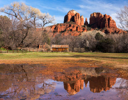 Cathedral Rock viewed from Historic Red Rock State Park Arizona.
