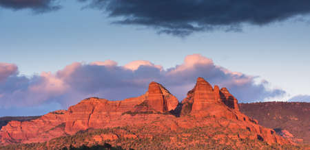 Thumb Butte and Red Rock Country in the late evening light above Sedona Arizona.