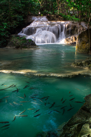 Erawan waterfall. Located on West Thailand in the Tenasserim Hills of Kanchanaburi Province, it is one of the most famous national parks in Thailand.
