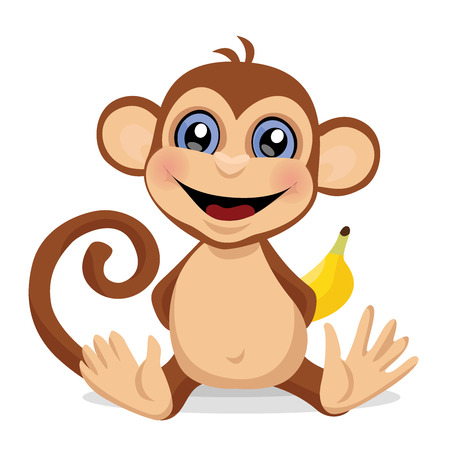 Sweet monkey. A toy, an animal. Vector illustration.