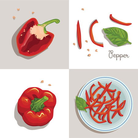 Bell peppers.Chopped bell peppers on a plate. Organic food vector illustration.