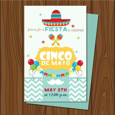 Cinco De Mayo poster template. Text customized for invitation for fiesta party. Mexican attributes. Vector illustration.