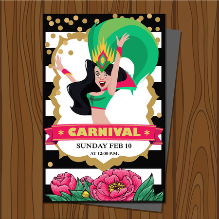 Brazilian samba dancer. Carnival in Rio de Janeiro girls wearing a festival costume is dancing. Vector illustration. Design for menu, card, invitation.