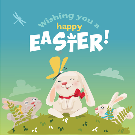 Happy Easter! Cute easter bunny. Vector illustration.