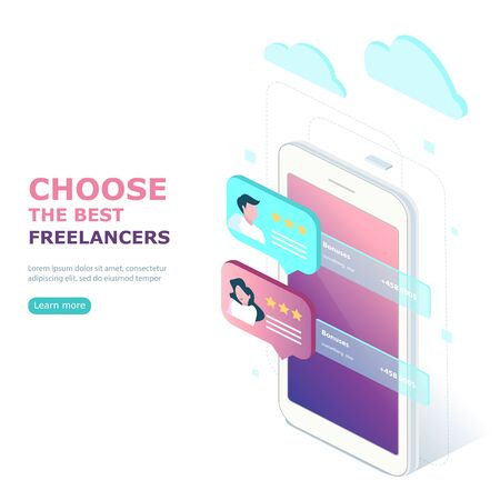 Freelancers service concept banner with text place. Landing page template, web banner, infographics, hero images. Flat isometric vector illustration. Illusztráció