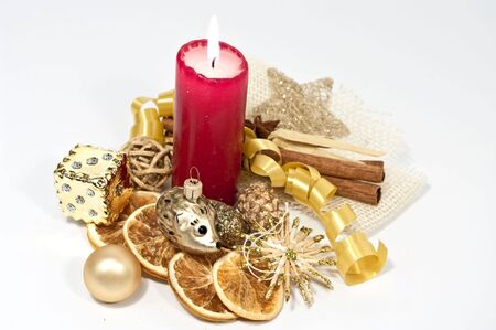 Decoration with a burning candle
