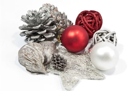 Christmas decoration in red and silver Stock Photo