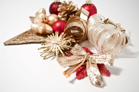 Christmas decoration in red and gold Stock Photo