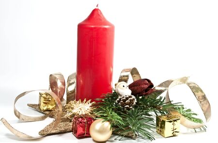 Decoration with a red candle photo