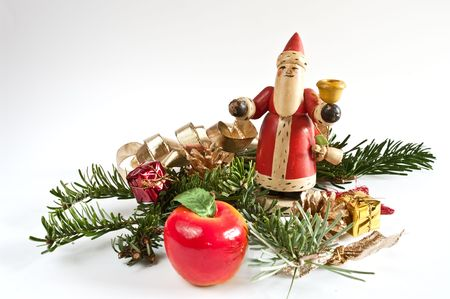 fir twig: Decoration with a santa claus and a fir twig