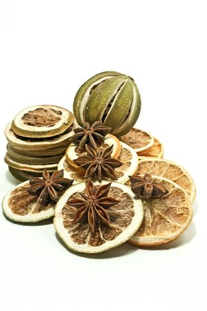 Dried citrus fruits and star anise