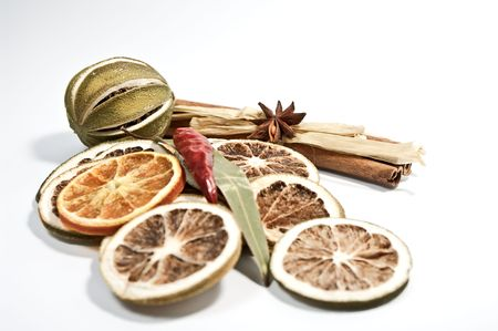 Dried citrus fruits and a chilli hull Stock Photo - 6024117