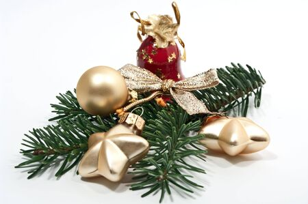 Christmas decoration with fir twig and red bell photo