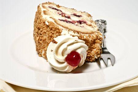 cream cake: Cream cake on a plate Stock Photo