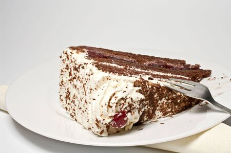 bing: Black forest gateau on a plate with a little fork