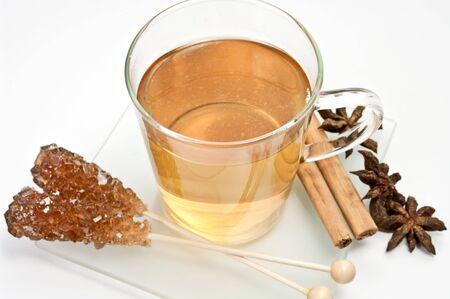 german chamomile: Chamomile tea in a glass cup