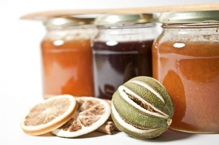 Jam and dried fruits Stock Photo