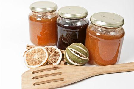 Three glasses with jam