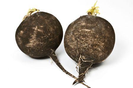 Black radish on white Stock Photo