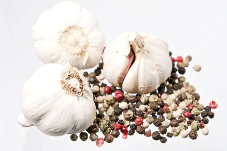 Garlic and colored pepper