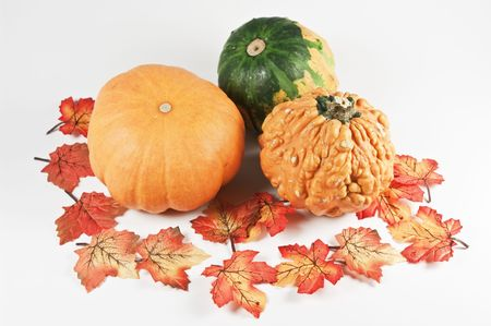 Decoration with three mini pumpkins photo
