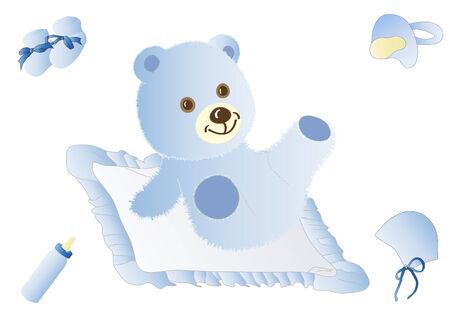 Blue teddy Stock Vector - 9062435