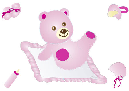 Pink teddy Stock Vector - 9062436