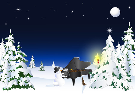 Snowman plays piano Vector