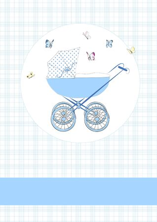Baby buggy in blue Vector