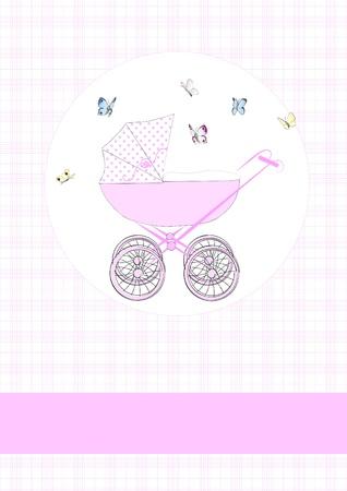 Baby buggy in pink Stock Vector - 12137328
