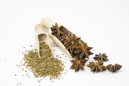anise star: Wooden shovels with star anise and anise Stock Photo