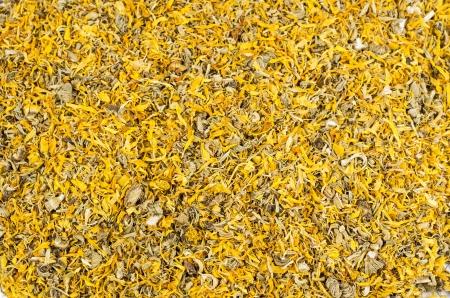 Close-up of dried yellow calendula blossoms