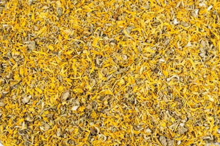Close-up of dried yellow calendula blossoms