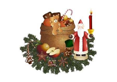 Sack with gifts and a wooden St. Nicholas