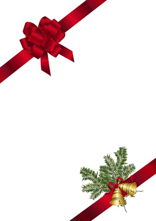 fir twig: Red bow and ribbon with fir twig and bells