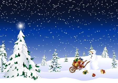 brings: Little snowman brings presents