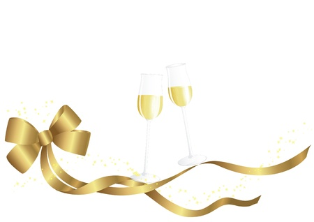 Golden bow and champagne glas Illustration