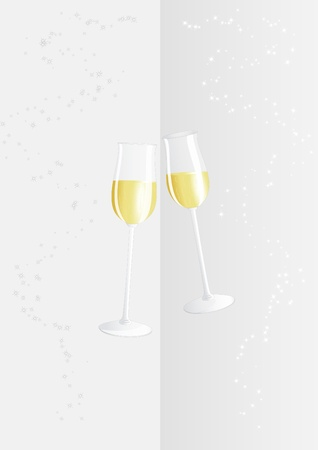 champagne glasses: Two champagne glasses